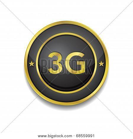 3g Sign Circular Golden Black Vector Button Icon