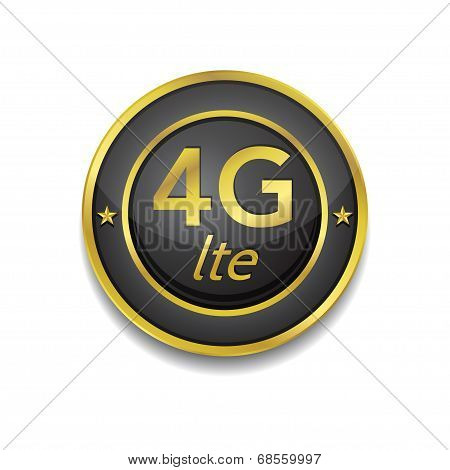 4g Sign Circular Golden Black Vector Button Icon