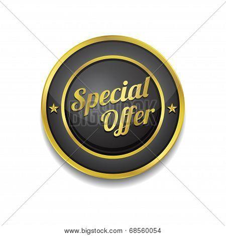 Special Offer Golden Black Vector Icon Button