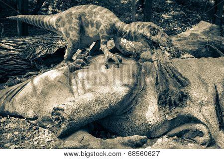 Realistic Model Of Dinosaur Deinonychus