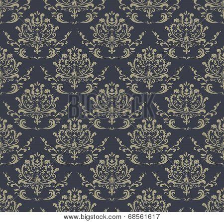 Retro Wallpaper, seamless damask pattern.