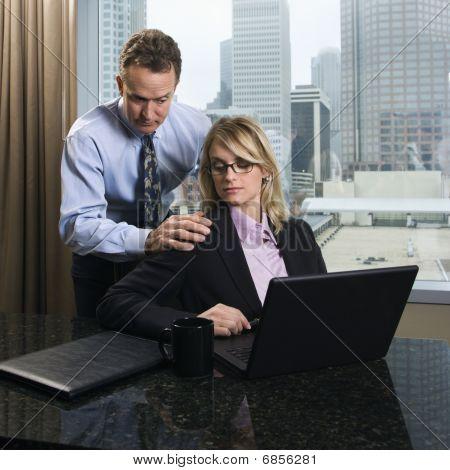 Businessman Annoying Businesswoman