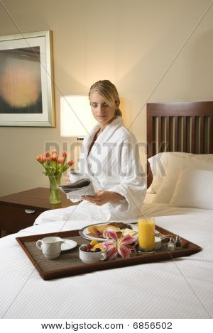 Woman With Hotel Room Service