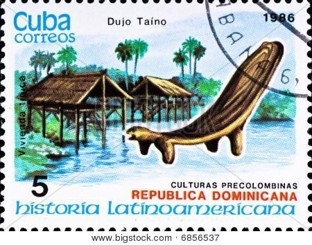 Postage Stamp Shows Example Dujo Taino Culture