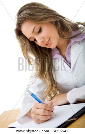 Female Doctor Writing