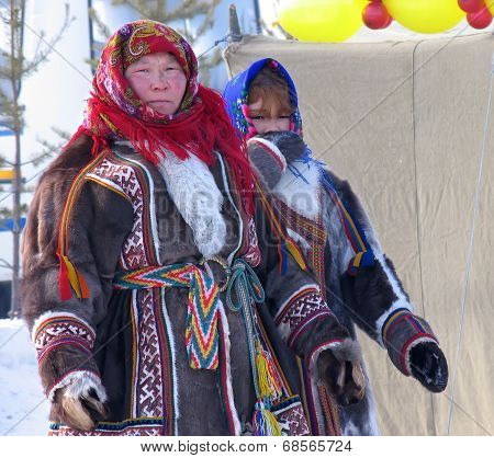 Nadym, Russia - March 18, 2006: Unknown Woman - Nenets, Closeup, On The Street.