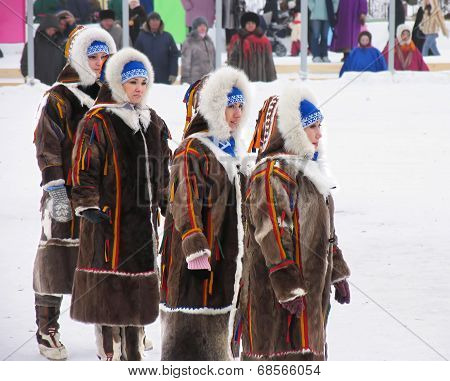 Nadym, Russia - March 3, 2007: The National Holiday, The Day Of The Reindeer Herder.