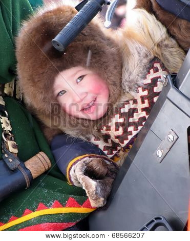 Nadym, Russia - March 11, 2005: The National Holiday, The Day Of The Reindeer Herder.