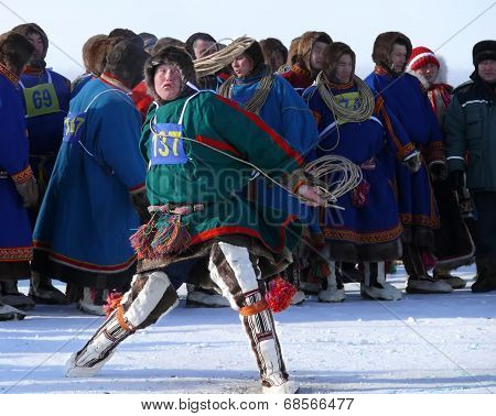 Nadym, Russia - March 15, 2008: The National Holiday - The Day Of The Reindeer Herder.