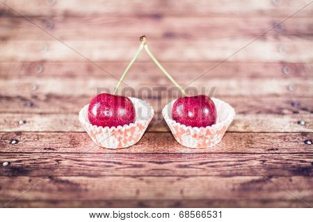 Two Cherries On Cupcake Liners