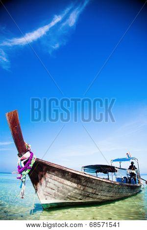Tropical beach, traditional long tail boat, Andaman Sea, Thailand