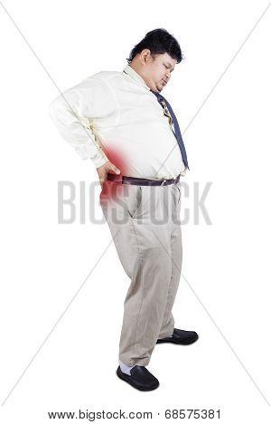 Fat Man Having Backache