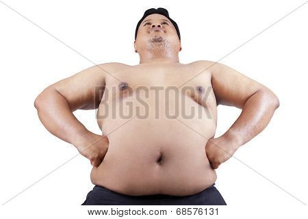 Fat Man With Big Stomach