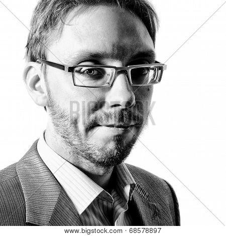 Bw Studio Portrait Of Handsome Man In Formal Dress