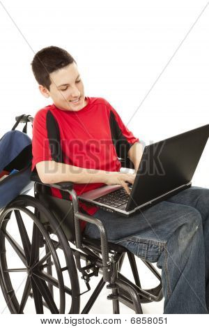 Disabled Teen Using Computer