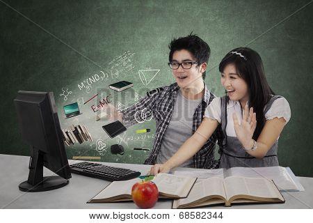 Shocked Students Staring At Monitor 1
