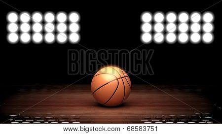 Basketball court floor with ball and back lighting on black
