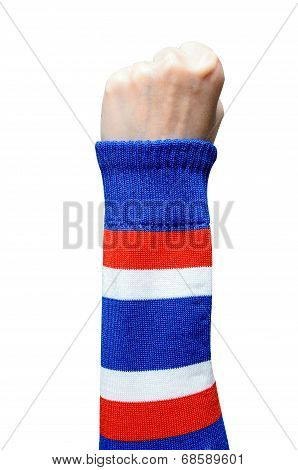 Woman Hand In Thailand Armband Making Sign