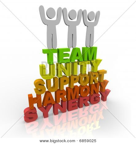Teamwork - Team Members Stand On Words