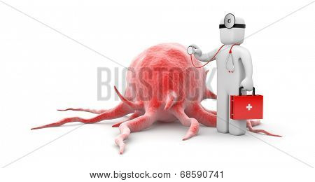 Doctor examines cell (possibly cancer cell)
