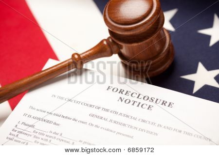 Gavel American Flag And Foreclosure