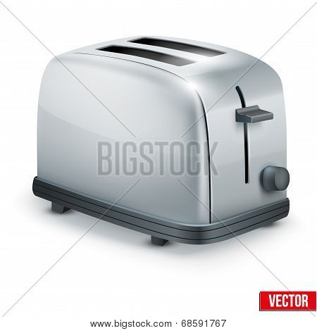Bright Metal toaster. Vector isolated on white.