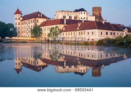 Jindrichuv Hradec castle in South Bohemia, Czech Republic in morning light