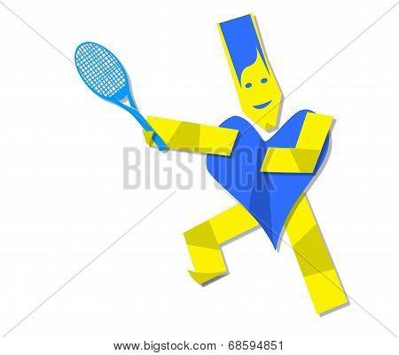 Illustration Of Heart Man Playing Tennis
