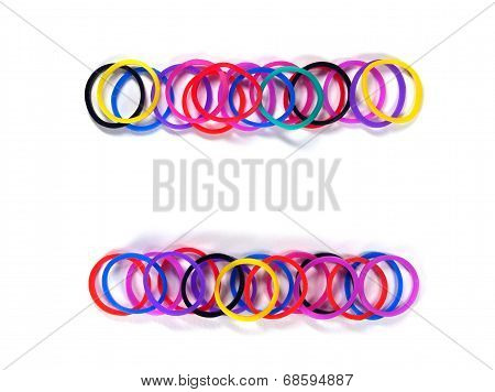 Colorful Rubber Band Equal Symbol.
