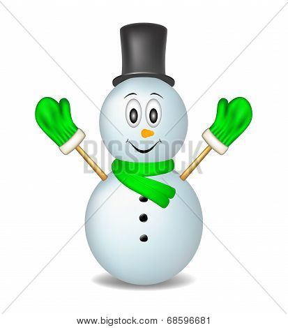 Smiling snowman wearing mittens, hat and scarfUntitled-2