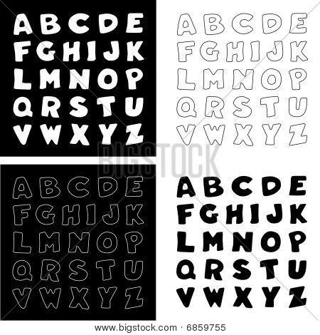 Black & White Alphabet,  4 versions