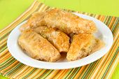 pic of baklava  - Sweet baklava on plate on table close - JPG