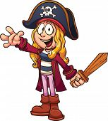 image of pirate hat  - Cartoon pirate girl - JPG