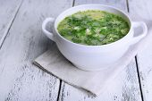 picture of sorrel  - Delicious green soup with sorrel on table close - JPG