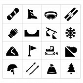 stock photo of snowboarding  - Set icons of skiing and snowboarding isolated on white - JPG