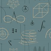 foto of mathematics  - Mathematics seamless pattern with functions and geometric shapes and various mathematical symbols vector - JPG