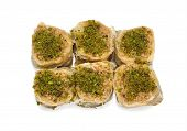 picture of baklava  - group of baklava with pistachios isolated on white background - JPG