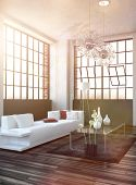 foto of settee  - Bright sun filled living room interior with lens flare effect and a modern white sofa - JPG