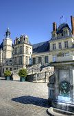 image of chateau  - View of the Chateau de Fontainebleau and its famous stairway - JPG