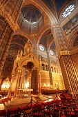 foto of altar  - Gothic cathedral interior and altar at night - JPG