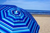 pic of cape-cod  - Blue striped beach umbrella at Newcombs Hollow - JPG