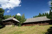 picture of farmworker  - Old wooden houses from Carpathian mountains  - JPG
