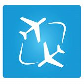 stock photo of aeroplane symbol  - transferring plane symbol in blue button - JPG