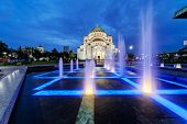 picture of serbia  - Saint Sava temple with fountain - JPG