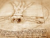 foto of leonardo da vinci  - Photo of the Vitruvian Man by Leonardo Da Vinci from 1492 on textured background - JPG