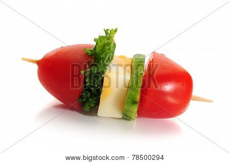 Image of cherry tomato with lettuce and cheese