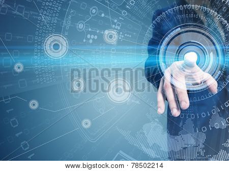 Close up of businessman touching digital screen with finger