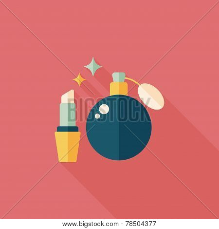 Shopping Perfume And Lipsticks Flat Icon With Long Shadow,eps10