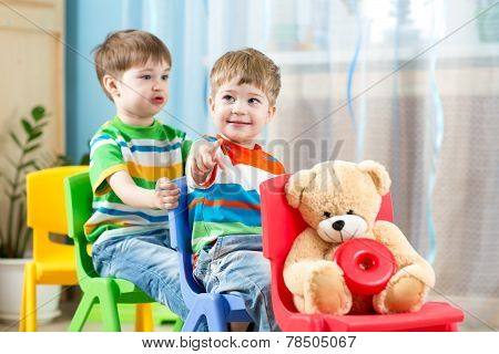 Two little boys playing in daycare