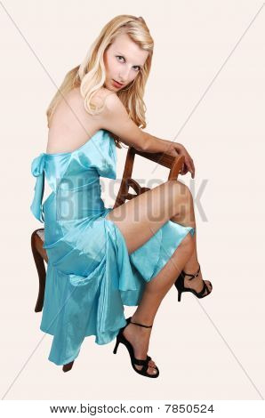 Tall Blond Girl Sitting.